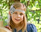 Gray Lace & Satin Baby Headband - Newborn -Toddler  - Photo Prop Flower Girl Womens Lace Stretch Elastic Grey