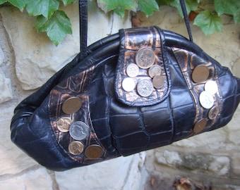 Unique Black Embossed Leather Coin Decorated Shoulder Bag c 1980
