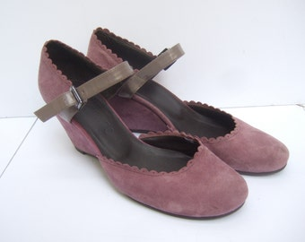 Lavender Suede Ankle Strap Wedges Size 37