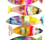 Watercolor Fish Art Print.
