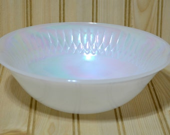 Vintage White Iridescent Federal Glass Milk Glass Serving Bowl Heat Proof Pearlescent Opalescent  Heat Proof Made in USA