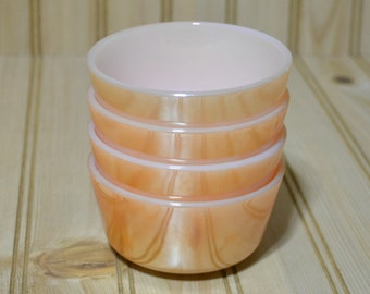 Vintage Fire King Anchor Hocking Lusterware Peach Custard Cups Bowls - Ovenware - USA -  Set of 4