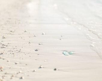 Beach Glass Photography - Sea Glass Photography - Mexico - White Sand Beach Photo - Glass - Fine Art Photography Print - Blue Tan Home Decor