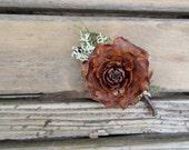 Woodland Boutonniere, Woodland Brooch -Cedar Rose, Lichen & Trachelium Jade