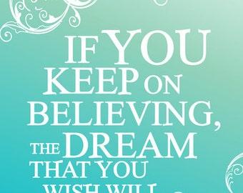 keep on believing... cinderella... disney.. printable