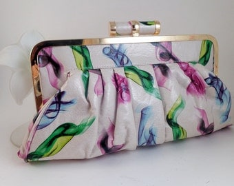 Retro CLUTCH PURSE Snap Lock Lined Soft Watercolor Look Colorful