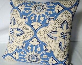 Purple, Blue & White Quadrille Linen Silkscreen Pillow Cover, 19 x 19, Designer throw pillows