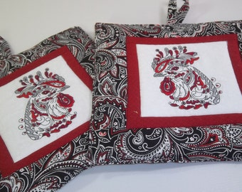Rooster Pot Holders -  Embroidered Rooster Head on Red and Black Paisley