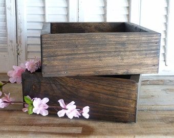 Rustic Farm Wedding Decor, Wooden Box, Storage Box, Cottage Chic Decor, Wedding Decor, Wooden Planter Box