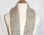 Lion Brand Knitted Oatmeal with Black Flecks Infinity Cowl Scarf
