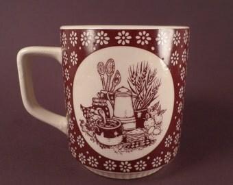 Vintage Mug, Country Kitchen Ceramic Tableware