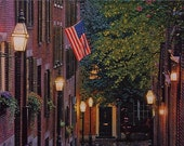 Beacon Hill, Acorn Street, Boston in Fall, Oil Painting, Commissioned Oil, Reserved for R, Original Oil Painting, Dan Leasure