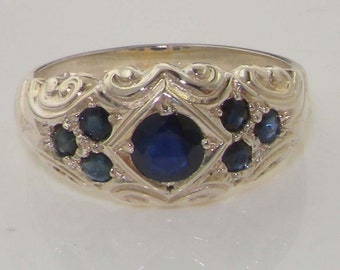 Natural Dark Blue Sapphire Solid 925 Sterling Silver Vintage Scroll Design Commitment Band Ring - Made in England - Customizable