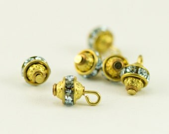Gold Ball Dangle Beads - Pale Blue Crystal Banded Beads