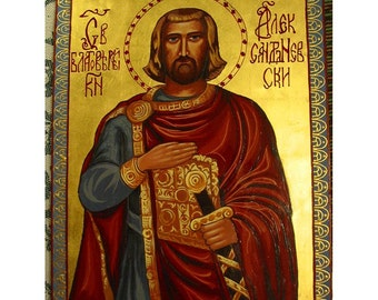 Handpainted Icon of St .Alexander,Oil ground coat,Wood base,Pure gold,Pure Mastic Varnish,Bee Wax Protection