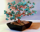 Wire tree sculpture with turquoise howlite copper gem tree healing
