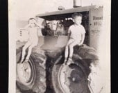 Original Antique Photograph Tractor Twins
