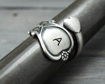 Spoon Ring, Initial Ring,Silverware Ring,Hand Stamped Ring, Hand Stamped Jewelry, Personalized Gift Idea, Adjustable Ring