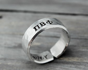 Pi Beta Phi Ring, Hammered Sorority Ring, personalized jewelry, hand stamped ring, handstamped jewelry, Sorority Jewelry