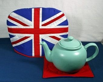 Union Jack Domed Tea Cozy with Trivet for 6 to 8 Cup Tea Pot - Union Flag Tea Cozy