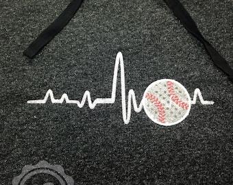 Woman's SPARKLE Baseball Heart Beat Hoodie with Applique Baseball - Glitter - Heartbeat