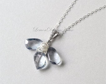 Gemstone Orchid Necklace, Mystic Blue Quartz, Twisted Marquise Briolettes, Sterling Silver Chain, Rhodium-plated Bail with CZ. Gift. N010b.