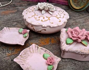 Porcelain Box SET, Pink Rose Box, Pink Box w Lid, Made in Occupied Japan, Trinket Box, Jewelry Box, Pink Ring Box, Cigarette Box, Ashtrays