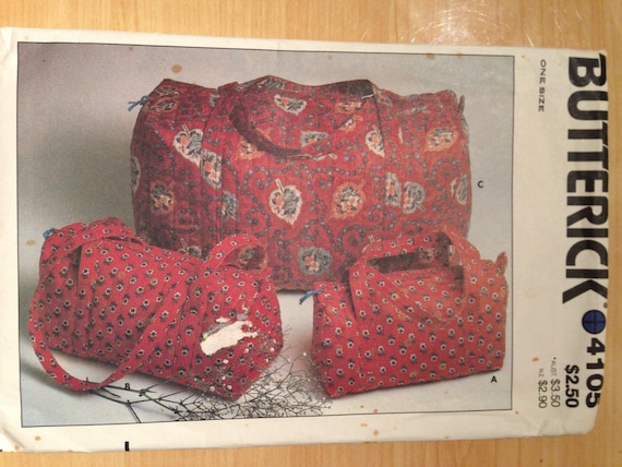 Butterick 80s Sewing Pattern 4105 Three Size Quilted Bags