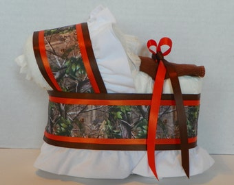 camo camouflage diaper bassinet baby shower gift table decoration centerpiece boy girl neutral