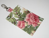 Shabby Chic Vintage Rose  Cotton Clip On  ID Holder with Hidden Cash Stash