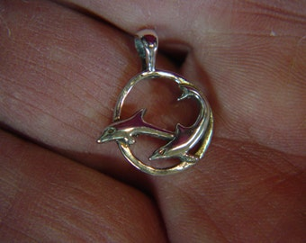 Dolphins solid Argentium® Sterling Silver Pendant  *AS91943