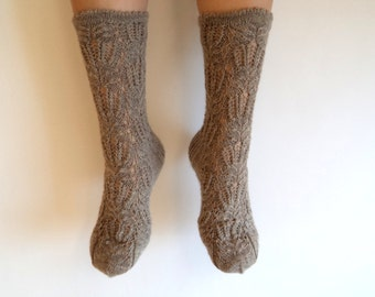 Intricate wonderful lace pattern socks. Beige ladies lace socks. Gift for her. Hand knit luxurious socks. Boudoir socks. House or bed socks.