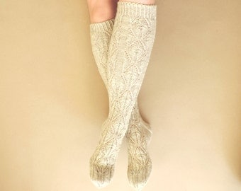 Oatmeal boot socks. Beige knee high socks. Hand knit leg warmers. Gift for her. Lace socks. Wool socks. Country socks. Rustic.