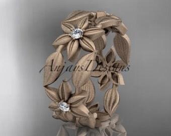 14kt  rose gold diamond leaf and vine, flower  wedding ring,engagement ring,wedding band ADLR344