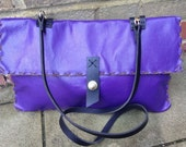 One off DESIGNER handcrafted handstitched lovely purple leather goatskin bag cross body with gold hardware