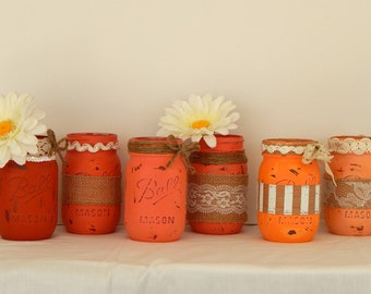 Painted Mason Jars- Distressed Ombre Wedding Centerpieces- Table Decor Set of 6 Jars