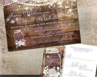 Mason Jar Wedding Invitation - Rustic Wedding – Country Wedding -Outdoor Wedding Invitation –Summer Wedding Invitation –Mason Jar Invitation