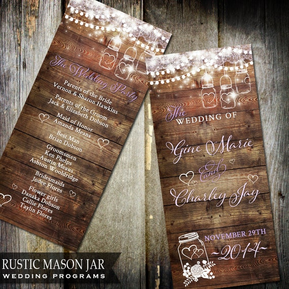 Rustic Mason Jar Wedding Program Wood Background Flicker