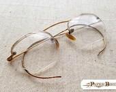 Vintage Hexagon Glass Bifocals with Original Case Semi Rimless Gold