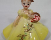 Vintage JOSEF FIGURINE Girl In Yellow Dress With Red Checked Basket