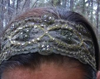 Adjustable Olive & Gold Headband