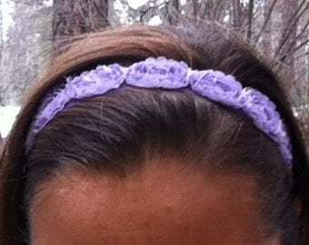 Adjustable Lavender Rose Headband