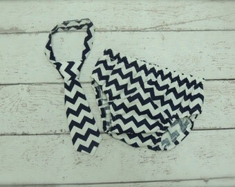 Baby Boy Tie and Diaper cover SET - Navy Blue Chevron