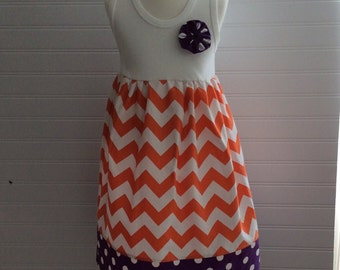 CLEMSON TANK   in orange chevron & purple polka dot - also available with short or long sleeves- many sizes