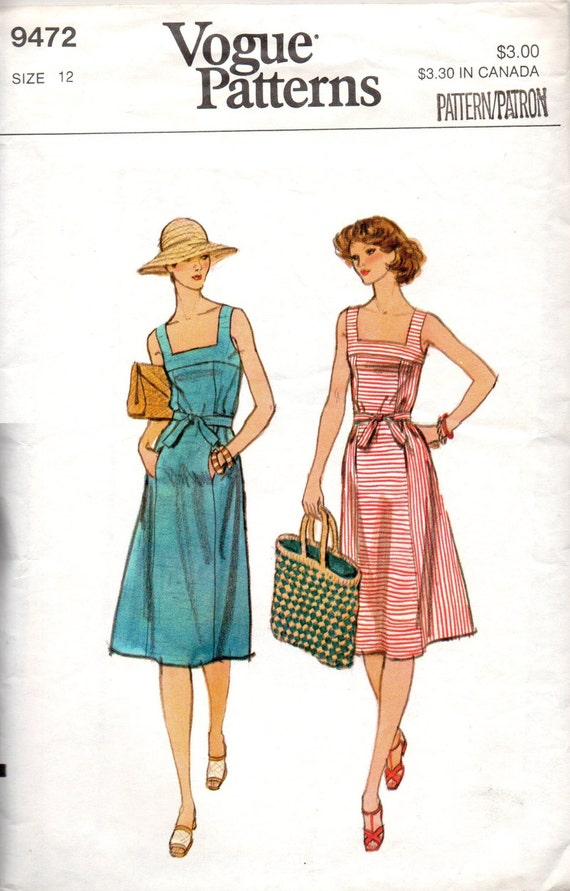 Retro Summer Sundress Vogue 9472 Sewing Pattern Classic Apron