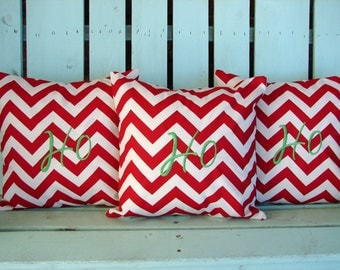 """Sale Set of 3 14"""" X 14"""" Christmas red chevron print Ho Ho Ho embroidered Christmas- pillow cover-gifts under 50-throw pillow-accent pillow"""