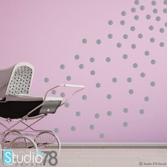 Silver Polka Dots Modern Decor Metallic by Studio378Decals
