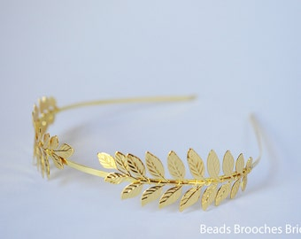 Gold Plated Headband,Leaf Grecian Headband, Gold Plated Wedding Headband, Gold Plated Headpiece, Greek Headband, Laurel Hair Piece, Grecian
