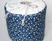 Blue with Delicate White Flowers Toilet Paper Cover