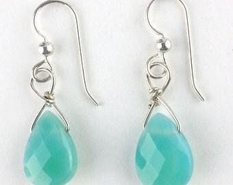 Blue earrings in silver,chalcedony earrings wire wrapped with sterling silver,  Seafoam green